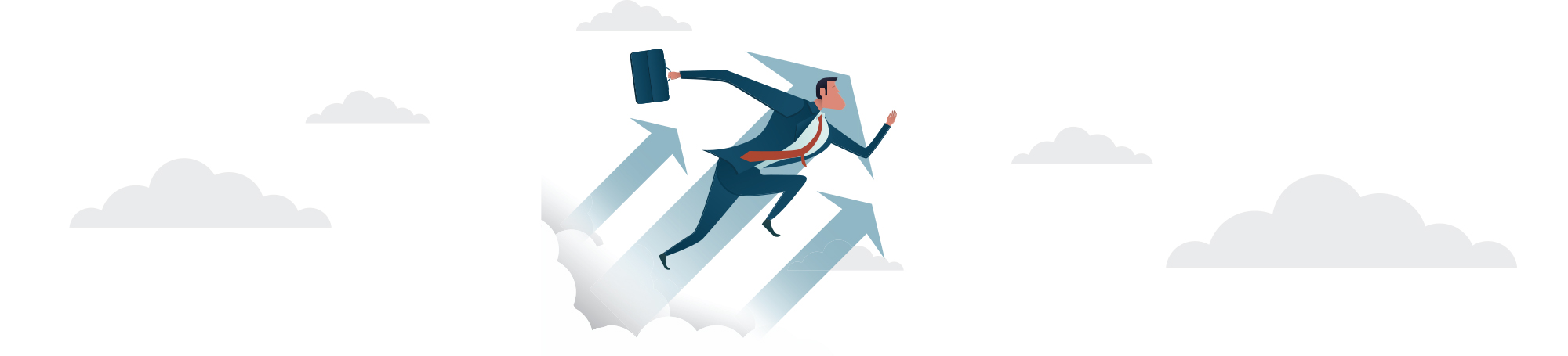 Illustration of person moving up in clouds