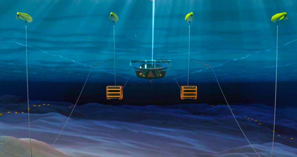 Rendering of an Example of a configuration with four projector modules towed behind the seismic vessel hanging from floats