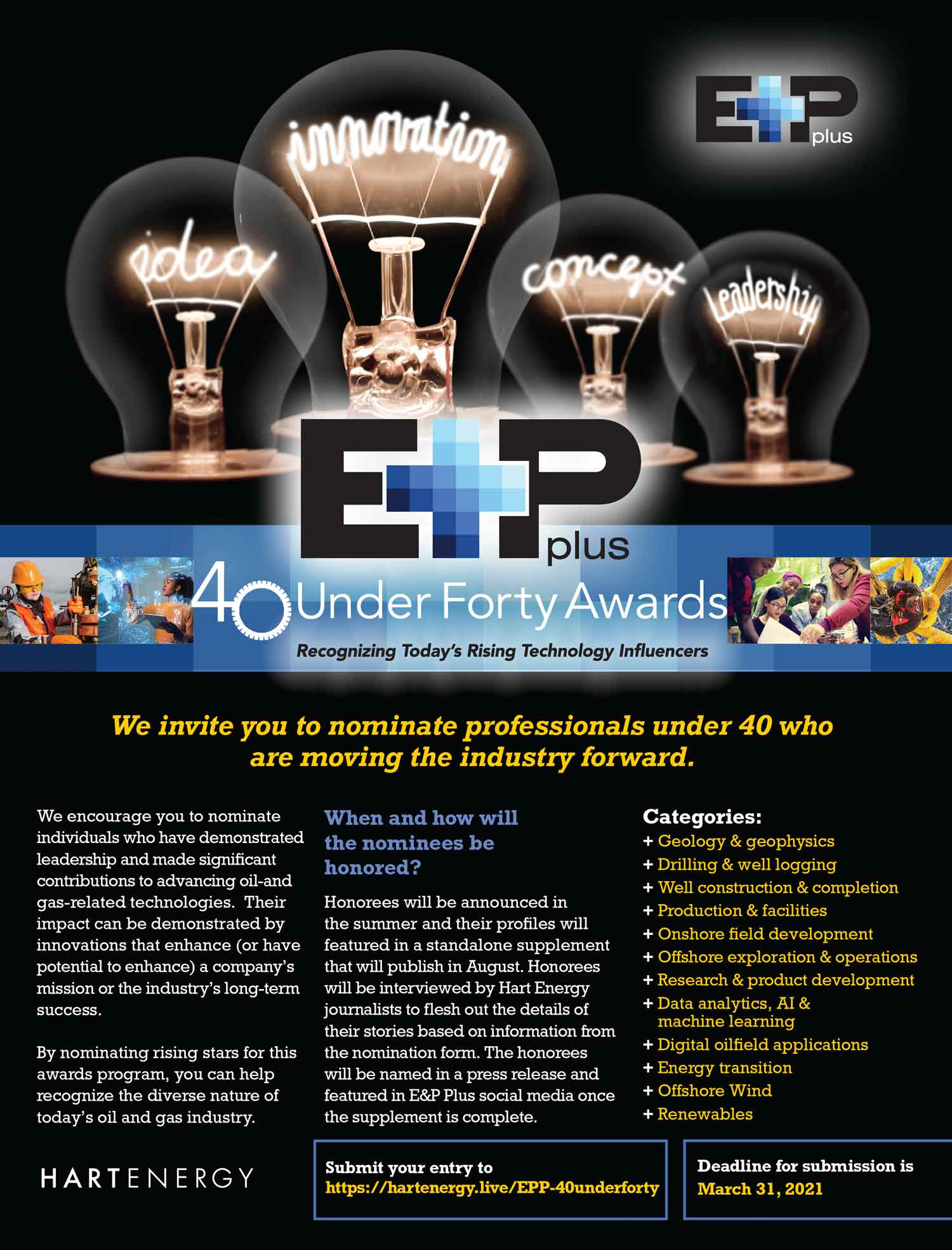 E+P Plus 40 Under Forty Awards Advertisement